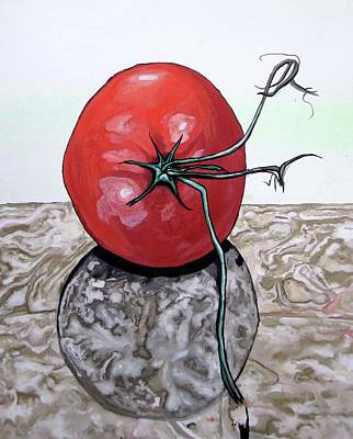 Still Life Painting - Tomato On Marble by Mary Ellen Frazee