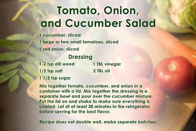 Digital Art - Tomato Onion Cucumber Salad Recipe by Ruth Moratz