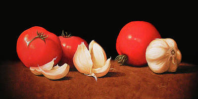 Italian Kitchen Painting - Tomatoes And Garlic by Timothy Jones