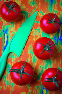 Tomatoes And Green Knife Art Print by Garry Gay