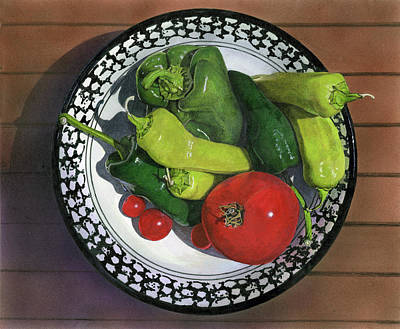 Painting - Tomatoes And Peppers  by John Dyess