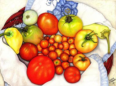 Tomato Drawing - Tomatoes In A Basket by Lorrie Cerrone