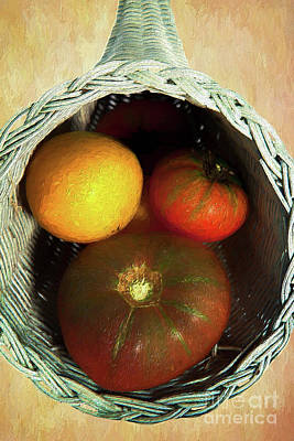 Interior Still Life Painting - Tomatoes In A Horn Of Plenty Basket 2 Ap by Dan Carmichael