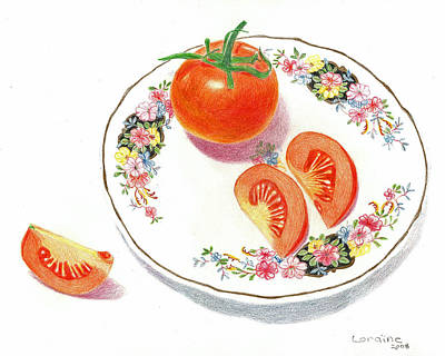 Tomatos Drawing - Tomatoes by Loraine LeBlanc
