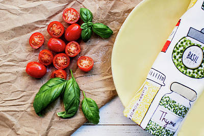 Snap Photograph - Tomatoes On Yellow Plate by Rebecca Cozart