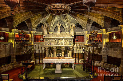 Tomb Of Saint Eulalia In The Crypt Of Barcelona Cathedral Art Print