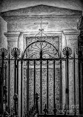 Photograph - Tomb, Wrought Iron, And Cross Voided - Artistic by Kathleen K Parker