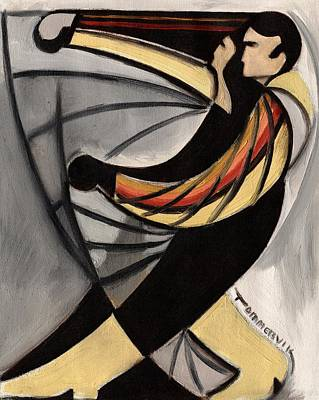 Painting - Abstract Dancing Art Print by Tommervik
