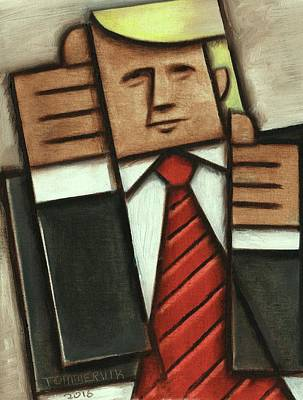 Print featuring the painting Tommervik Abstract Donald Trump Thumbs Up Painting by Tommervik