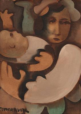 Painting -  Abstract Mother And Baby Art Print by Tommervik