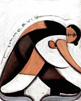 Print featuring the painting Tommervik Abstract Pair Skaters Figure Skating Art Print by Tommervik