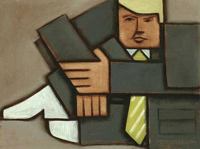 Print featuring the painting Tommervik Absttract Cubism Donald Trump Art Print by Tommervik