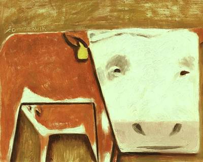 Painting - Tommervik Cow Milking Calf Cow Art Print by Tommervik