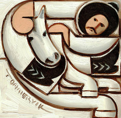 Painting - Tommervik Cowboy Riding White Horse Art Print by Tommervik