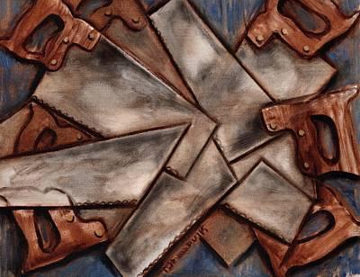 Painting - Tommervik Cubism Antique Hand Saws Art Print by Tommervik