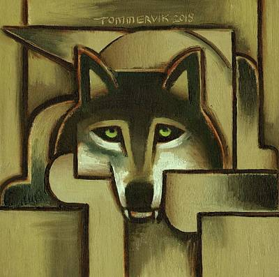 Painting - Tommervik Gold Abstract Wolf Art Print by Tommervik