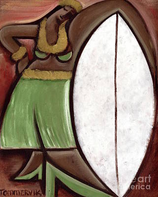 Painting - Tommervik Hula Girl Surfboard Art Print by Tommervik