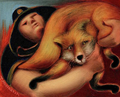 Painting - Tommervik Park Ranger Rescuing Fox Art Print by Tommervik