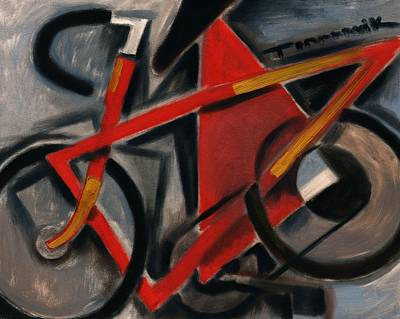 Painting - Tommervik Abstract Cubism Red Ten Speed Bike Art Print by Tommervik