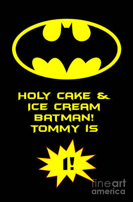 Digital Art - Tommy Batman 1st Bday by JH Designs