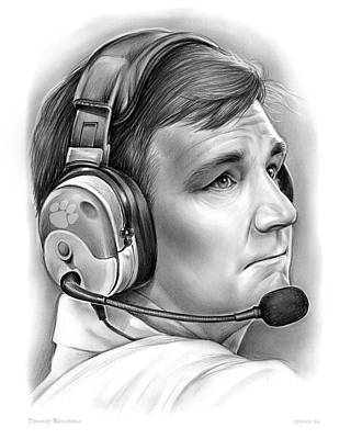 Clemson Drawing - Tommy Bowden by Greg Joens