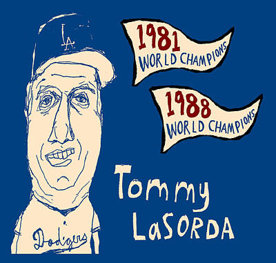 Tommy Lasorda Los Angeles Dodgers Art Print by Jay Perkins