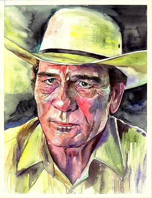 Duke Wall Art - Painting - Tommy Lee Jones Portrait Watercolor by Suzann's Art