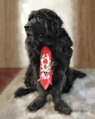 Digital Art - Tommy Wearing His Christmas Tie by Lois Bryan