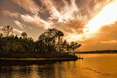 Tomoka River At Sunset Art Print by Stephen  Johnson