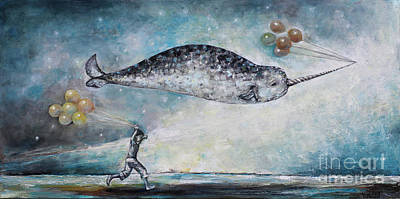 Flying Whale Painting - Tomorrow Land by Manami Lingerfelt