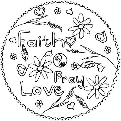 Faith Hope And Love Drawing - Tondo Dessin Black On White 16-01-09 by Leana De Villiers