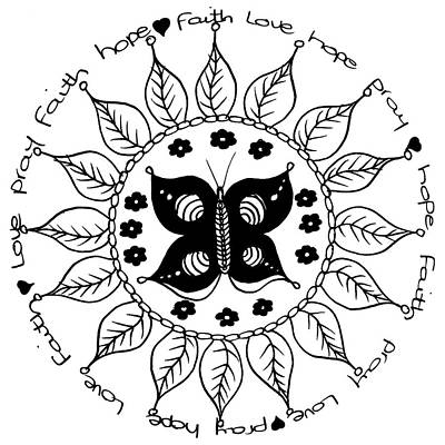 Faith Hope And Love Drawing - Tondo Dessin Black On White 16-01-11 by Leana De Villiers