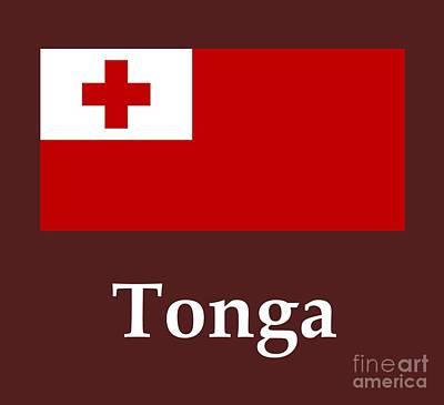 Tonga Digital Art - Tonga Flag And Name by Frederick Holiday