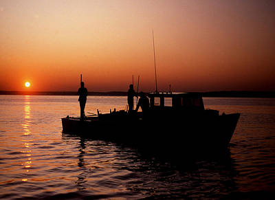 Oyster Photograph - Tonger's Sunrise by Skip Willits