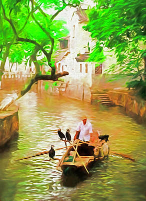 Photograph - Tongli Boatman by Dennis Cox ChinaStock