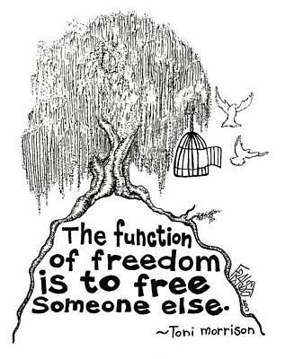 Drawing - Toni Morrison Tree Drawing by Rick Frausto