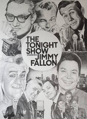 Johnny Carson Wall Art - Drawing - Tonight Show by Danielle Billings