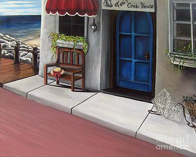 Sea Scape Painting - Toni's Crab House by Toni  Thorne
