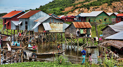 Tonle Sap Boat Village Cambodia Art Print by Chuck Kuhn
