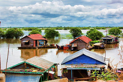 Tonle Sap Home On River  Art Print by Chuck Kuhn