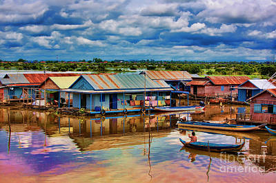 Tonle Sap Lake Homes Life  Art Print by Chuck Kuhn