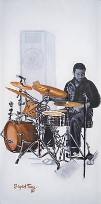 Drum Set Painting - Tony Austin - Drummer by Sigrid Tune