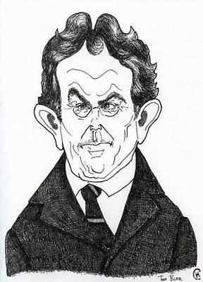 Caricature Drawing - Tony Blair by Cameron Hampton PSA