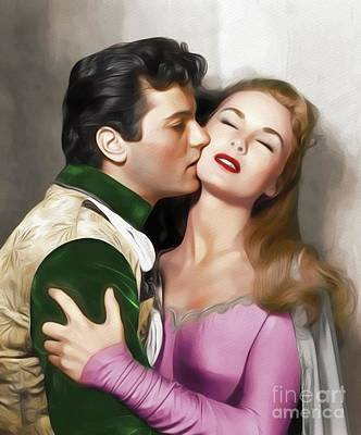 Painting - Tony Curtis And Janet Leigh, Hollywood Legends by John Springfield