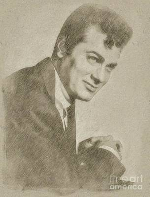 John Wayne Drawing - Tony Curtis Vintage Hollywood Actor by Frank Falcon