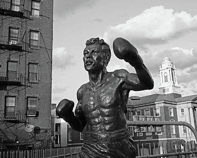 Photograph - Tony Demarco Boxer Statue North End Boston Ma Sunset Black And White by Toby McGuire