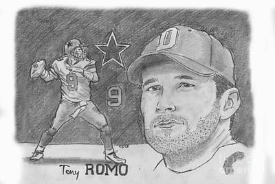 Drawing - Tony Romo by Chris  DelVecchio