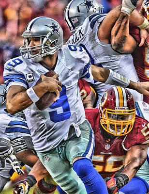 Dallas Cowboys Painting - Tony Romo Dallas Cowboys Art by Joe Hamilton