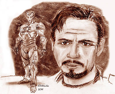 Drawing - Ironman by Chris  DelVecchio