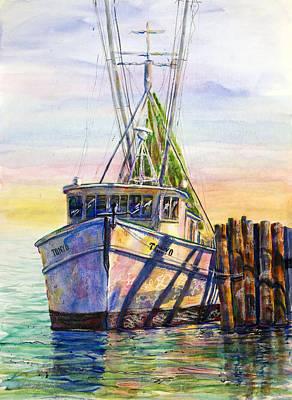 Tonyo Shrimp Boat Art Print by Shirley Sykes Bracken